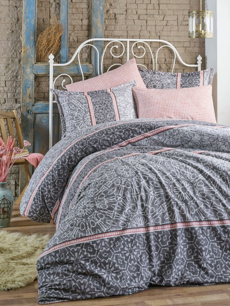 Bettwäsche 155x220 cm Bettgarnitur Bettbezug Baumwolle Kissen 3 tlg LALE GRAU