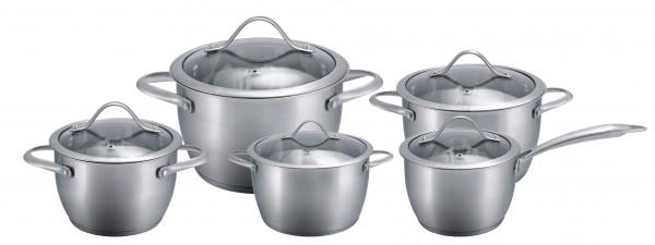 10 tlg Edelstahl Kochtöpfe mit Glasdeckel Induktion MATT