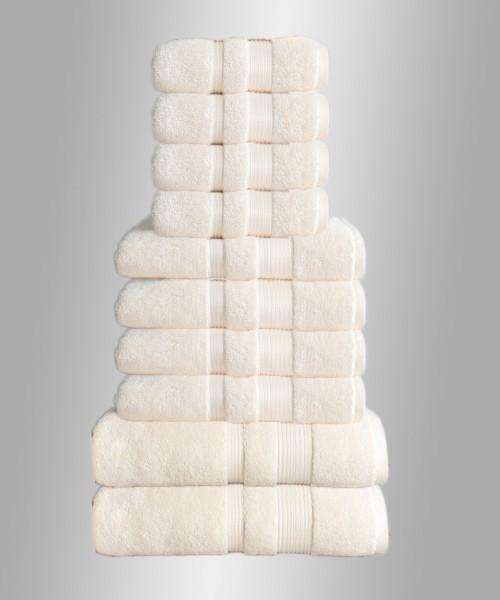 10er Set Handtuch Badetuch Gästetuch Baumwolle Farbe: Beige