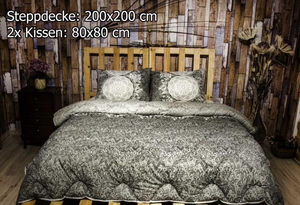 3 tlg Steppdecke 200x200 cm Schlafset Steppbett ZÜMRÜT GRAU