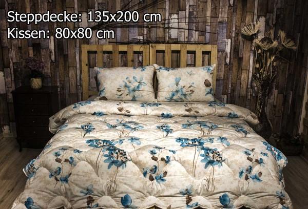 2 tlg Steppdecke 135x200 cm Schlafset Steppbett YAREN BLAU
