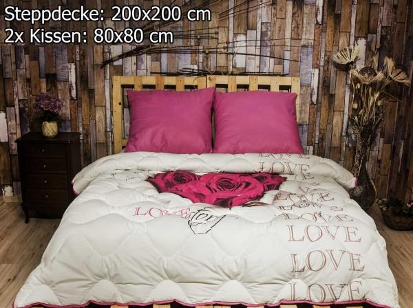3 tlg Steppdecke 200x200 cm Schlafset Steppbett LOVESTORY