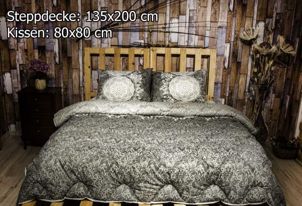 2 tlg Steppdecke 135x200 cm Schlafset Steppbett ZÜMRÜT GRAU