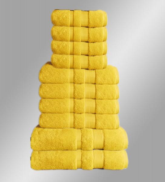 10er Set Handtuch Badetuch Gästetuch Baumwolle Farbe: Gelb